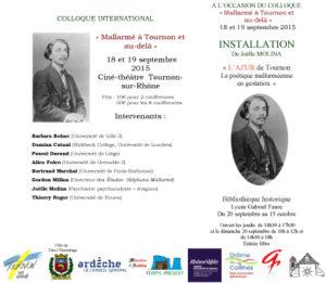 Colloque international Mallarmé à Tournon et au-delà, les 18 et 19 septembre 2015