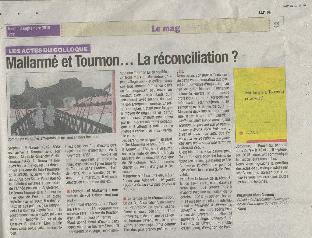 Mallarmé et Tournon... La réconciliation ? Publication des actes du Colloque Mallarmé et après JTT - 13 septembre 2018