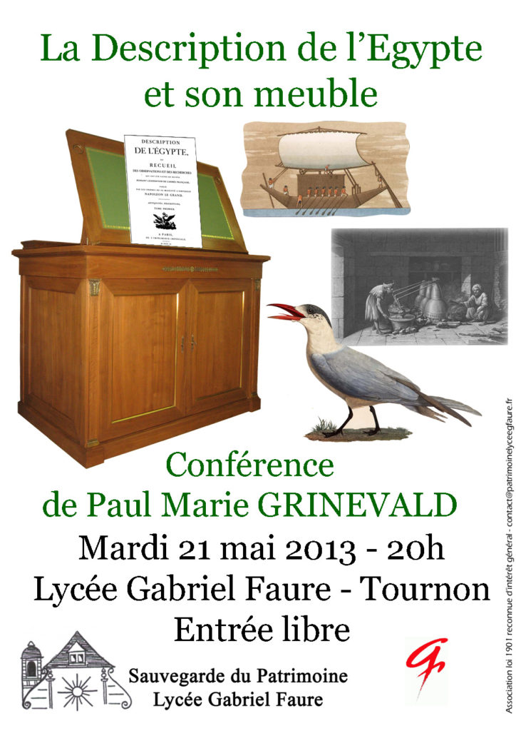 Conférence « La Description de l'Égypte et son meuble » par Paul Marie Grinevald